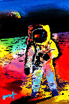 Walking on the Moon #11 2009 Heavily Embellished Poster 36x24 Works on Paper (not prints) - Peter Max