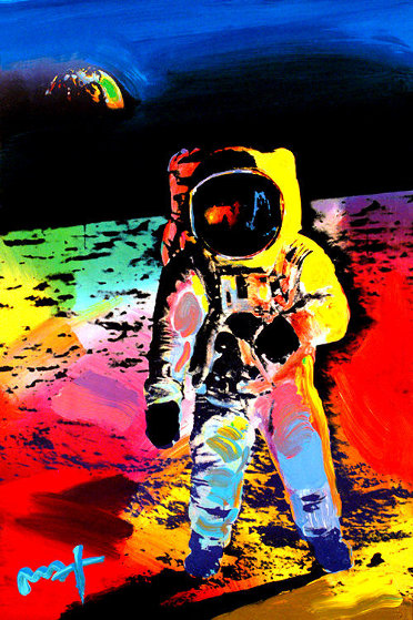 Walking on the Moon #11 2009 Heavily Embellished Poster 36x24 Works on Paper (not prints) by Peter Max
