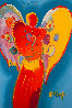 Red Angel With Heart III #23 2009Heavily Embellished Poster  36x24 Works on Paper (not prints) by Peter Max - 1