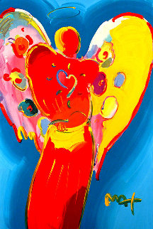 Red Angel With Heart III #23 2009Heavily Embellished Poster  36x24 Works on Paper (not prints) by Peter Max