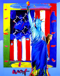 Patriotic Series: Full Liberty With Flag #16 Heavily Embellished Poster 2013 19x15 Works on Paper (not prints) - Peter Max
