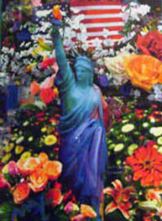 Land of the Free Home of the Brave II 2005 Unique 24x18 Works on Paper (not prints) by Peter Max