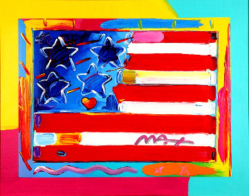 Flag With Heart Unique 29x34 Works on Paper (not prints) - Peter Max