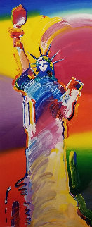 Statue of Liberty Unique 30x13 Works on Paper (not prints) by Peter Max