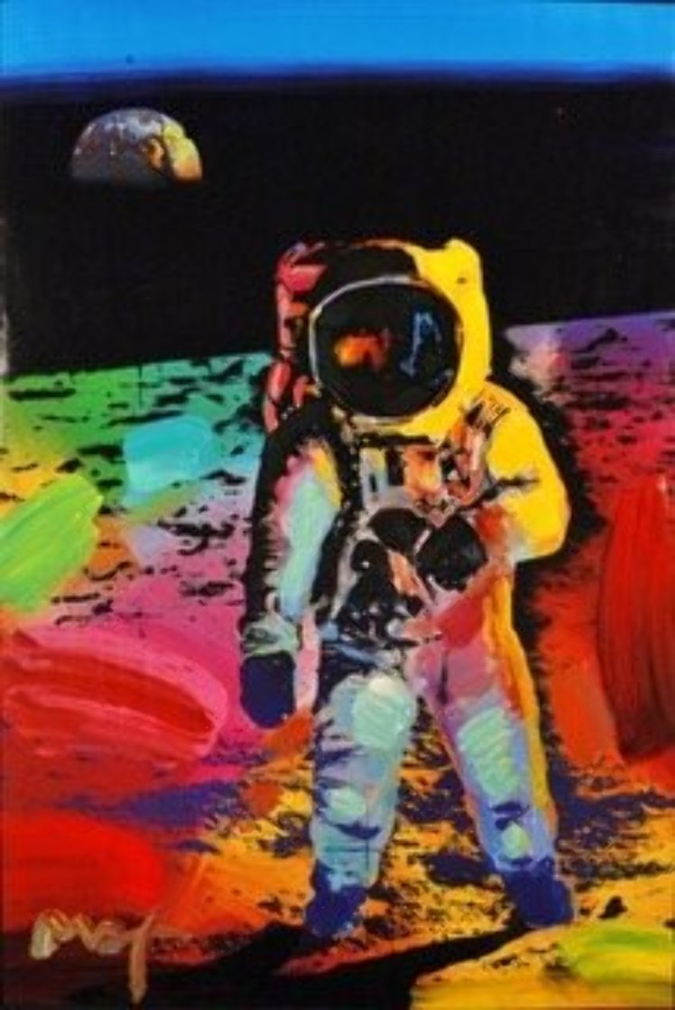 Walking on the Moon #33   Poster Heavily Embellished Works on Paper (not prints) by Peter Max