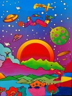Heaven on Earth 2000 Unique  Poster Heavily Embellished Limited Edition Print by Peter Max