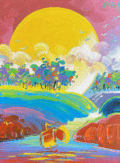 Without Borders #4 2004 48x42 Original Painting by Peter Max