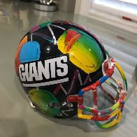 New York Giants Painted Mini Helmet  Sculpture by Peter Max - 1