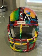New York Giants Painted Mini Helmet  Sculpture by Peter Max - 3