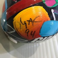 New York Giants Painted Mini Helmet  Sculpture by Peter Max - 7