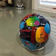 New York Giants Painted Mini Helmet  Sculpture by Peter Max - 4