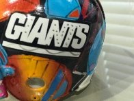 New York Giants Painted Mini Helmet  Sculpture by Peter Max - 5