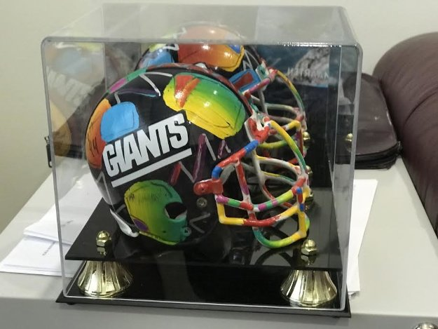 New York Giants Painted Mini Helmet  Sculpture by Peter Max