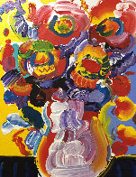 Vase of Flowers 2008 23x19 Original Painting by Peter Max - 2