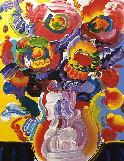 Vase of Flowers 2008 23x19 Original Painting - Peter Max