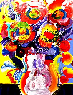 Vase of Flowers 2008 23x19 Original Painting - Peter Max