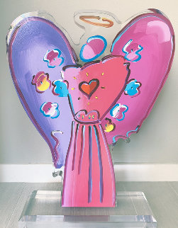 Angel With Heart Acrylic Sculpture 2018 23 in Sculpture - Peter Max