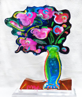 Vase of Flowers Acrylic Sculpture Unique 2015 21 in Sculpture - Peter Max