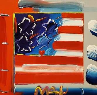 Flag With Heart Unique 2007 19x19 Original Painting by Peter Max