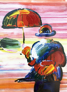 Umbrella Man on Blends Unique 2005 20x20 Works on Paper (not prints) - Peter Max
