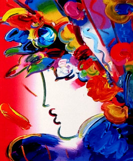 Blushing Beauty on Blends 2006 24x22 Original Painting - Peter Max