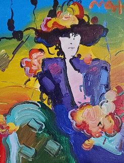 Brown Lady Unique 2013 25x22 Original Painting - Peter Max
