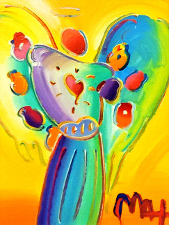 Angel With Heart Ver. XII #238 2014 22x19 Original Painting - Peter Max