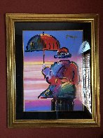 Umbrella Man Unique 1999 44x36 Works on Paper (not prints) by Peter Max - 2