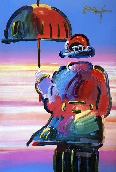 Umbrella Man Unique 1999 44x36 Works on Paper (not prints) by Peter Max