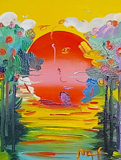 Better World   Unique 2012 24x21 Original Painting - Peter Max