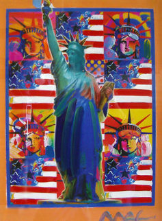 God Bless America with Five Liberties Unique 24x18 Works on Paper (not prints) by Peter Max