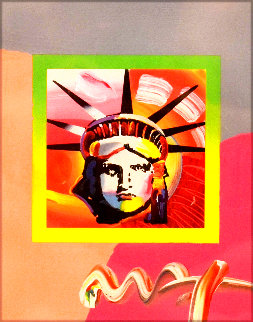 Liberty  Head II on Blends Unique 2006 22x24 Works on Paper (not prints) - Peter Max