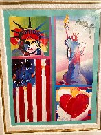 Two Liberties Flag And Heart Unique 2008 32x28 Works on Paper (not prints) by Peter Max - 1