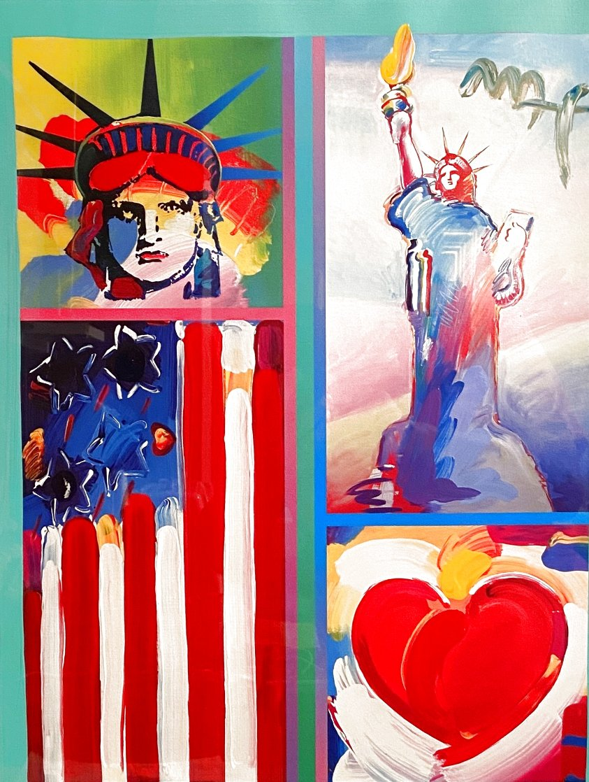 Two Liberties Flag And Heart Unique 2008 32x28 Works on Paper (not prints) by Peter Max
