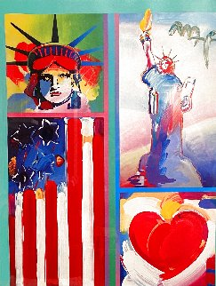Two Liberties Flag And Heart Unique 2008 32x28 Works on Paper (not prints) - Peter Max
