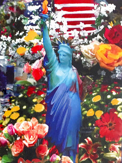 Land of the Free Home of the Brave II Unique 2005 40x34 Super Huge Works on Paper (not prints) - Peter Max