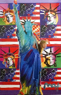 God Bless America III - With Five Liberties Unique 2005 37x32 Works on Paper (not prints) by Peter Max - 0