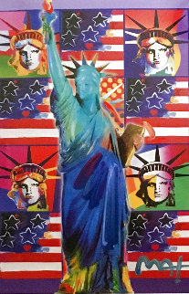 God Bless America III - With Five Liberties Unique 2005 37x32 Works on Paper (not prints) - Peter Max