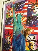God Bless America III - With Five Liberties Unique 2005 37x32 Works on Paper (not prints) by Peter Max - 4