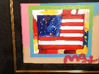 Flag With Heart on Blends Unique 2005 22x24 Works on Paper (not prints) by Peter Max - 2
