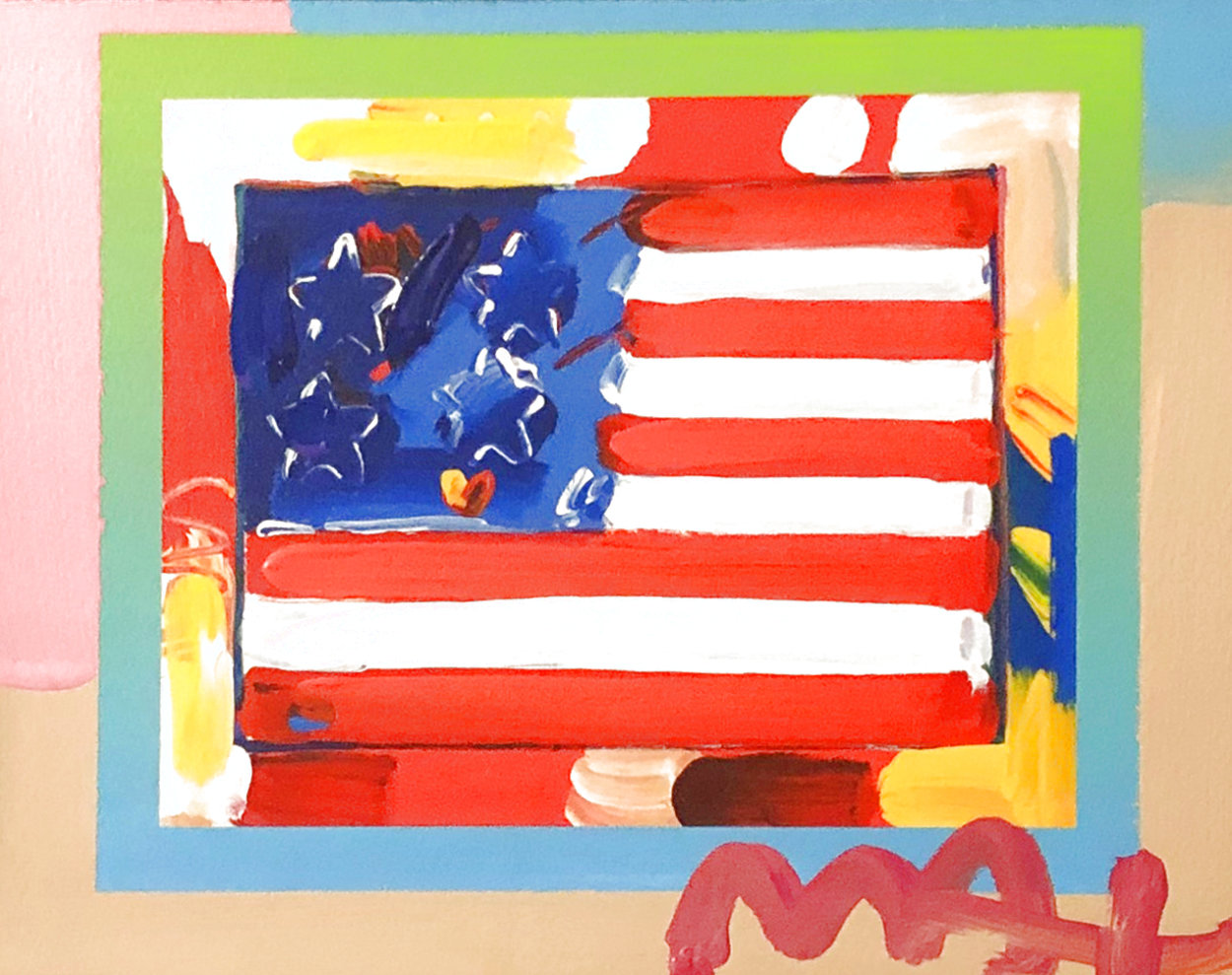 Flag With Heart on Blends Unique 2005 22x24 Works on Paper (not prints) by Peter Max