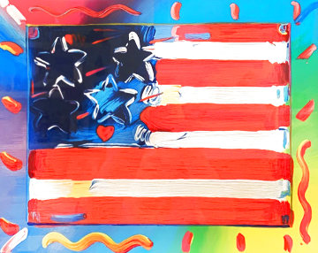 Flag With Heart VI 2013 Limited Edition Print - Peter Max