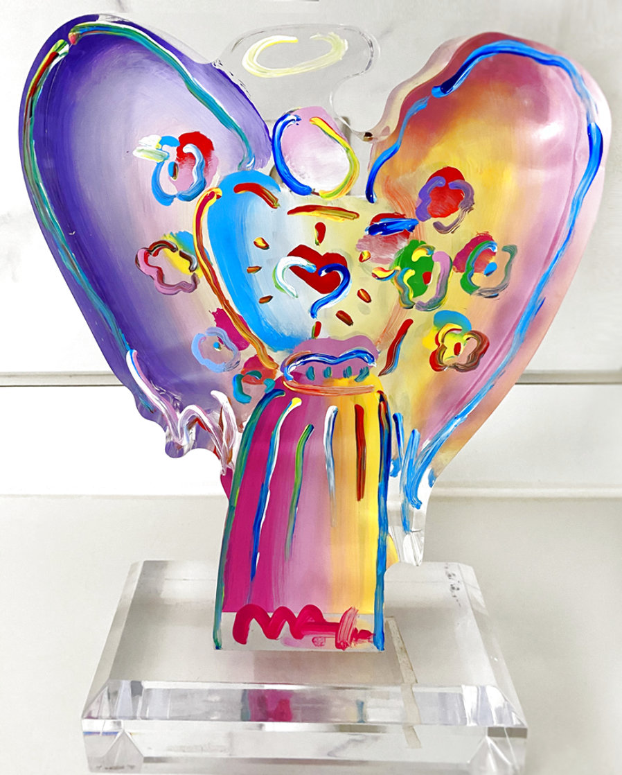 Angel With Heart Acrylic Sculpture Unique 2017 12 in Sculpture by Peter Max