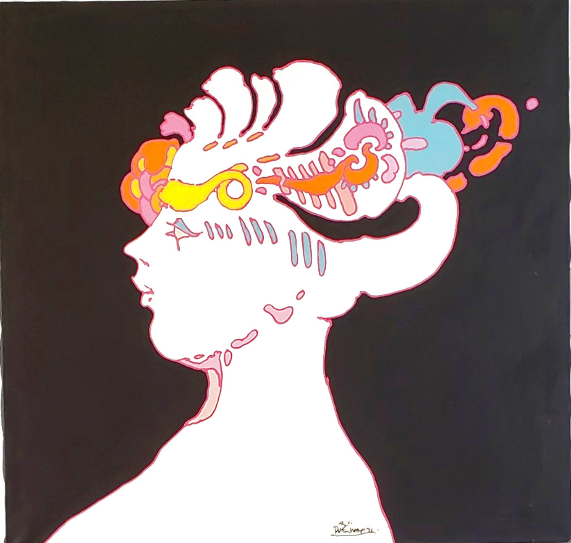 Untitled, Portrait of the Artists' Wife 1970 36x40 Super Huge Original Painting by Peter Max