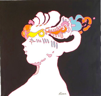 Untitled, Portrait of the Artists' Wife 1970 36x40 Super Huge Original Painting - Peter Max