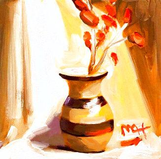 Vintage Vase With Flowers 14x14 Original Painting - Peter Max