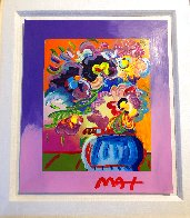 Vase of Flowers Unique 2017 33x30 Heavy Embellishment Works on Paper (not prints) by Peter Max - 2
