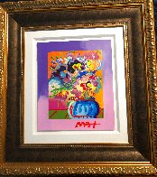 Vase of Flowers Unique 2017 33x30 Heavy Embellishment Works on Paper (not prints) by Peter Max - 1