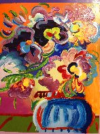 Vase of Flowers Unique 2017 33x30 Heavy Embellishment Works on Paper (not prints) by Peter Max - 3