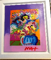 Vase of Flowers Unique 2017 33x30 Heavy Embellishment Works on Paper (not prints) by Peter Max - 4